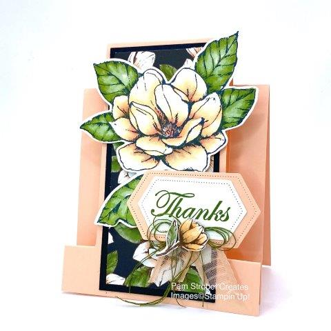 This fancy fold stepped easel card fills up fast with the large bloom uses the Magnolia Morning stamp set with matching Magnolia Memory Dies. Pairing the soft Petal Pink color with the bold contrast of the black sets the stage for a sentiment panel made with the Stitched Nested Label Dies. Texture ribbon pieces of Petal Pink& Garden Green compliment the fussy cut flower bud. Enjoy more of Stampin'Up's Magnolia Morning stamp set in my designated gallery here : https://www.pamstrobelcreates.com/magnolia-morning-stamp-set