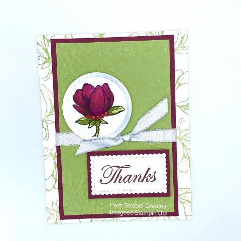 Today's card focuses on the challenge of using the color Merry Merlot. Dark colors can sometimes be a challenge. Pear Pizazz becomes it's complimentary color. Dry embossed card stock using the Greenery embossing folder gives texture while the image stamping on the border gives interest without taking away from the dark focal point of the flower. Merry Merlot and Pear Pizzaz using the Stampin'Up Magnolia Morning stamp set with Stitched So Sweetly Dies. Watercolored image with ink refills for intense color. You can find more Magnolia inspiration on my website here: https://www.pamstrobelcreates.com/magnolia-morning-stamp-set