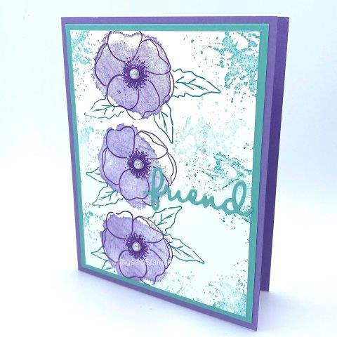 This pretty card goes together quite quickly using multiple images from Stampin'Up's Painted Poppies stamp set. Highland Heather blossoms mix with Coastal Cabana and Gorgeous Grape inks. I stamped the Gorgeous Grape flower outline first . Next comes the the Highland Heather solid image. Make a mask for that flower and then stamp the leaves in Coastal Cabana. Stamp once and stamp off a second time for the background splatter. Cut the FRIEND in Coastal Cabana from the Well Written Dies. Add Large Basic Pearls to the flower centers.  Enjoy more Painted Poppies on my webpage : https://www.pamstrobelcreates.com/painted-poppies-stamp-set